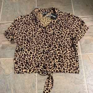 Cheetah button up crop top